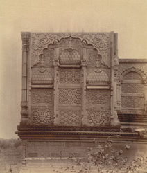 Close view showing details of carving of the unfinished tomb of the late Nawab, Pathari, Bhopal